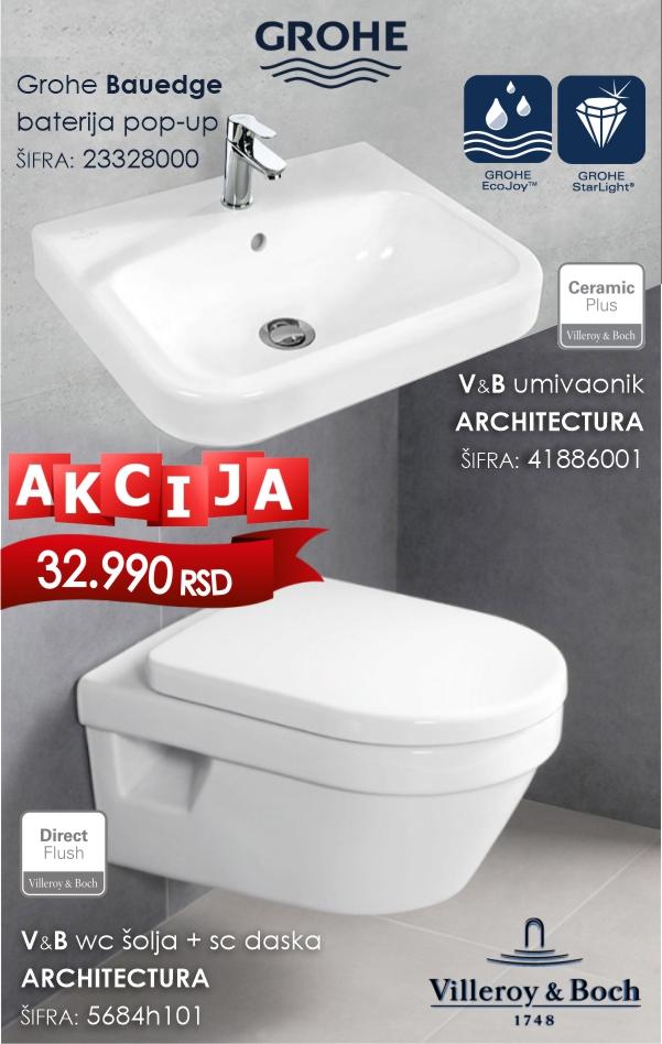 Akcija PRIMNA Architectura wc šolja, lavabo plus baterija umivaonik Grohe Bauedge
