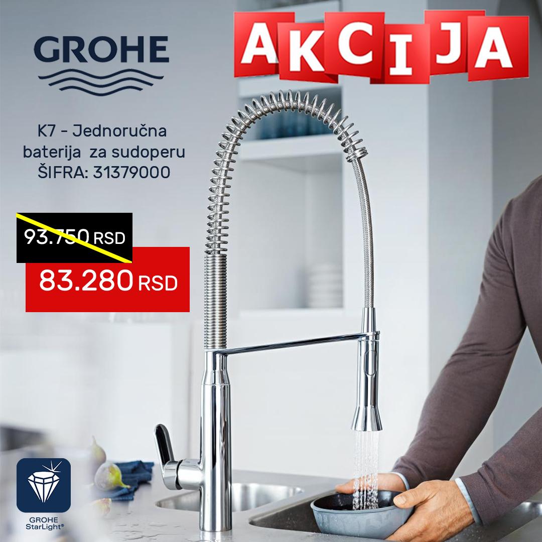 Grohe K1 AKCIJA profesionalna baterija za sudoperu sa tušem na izvlačenje 31379000