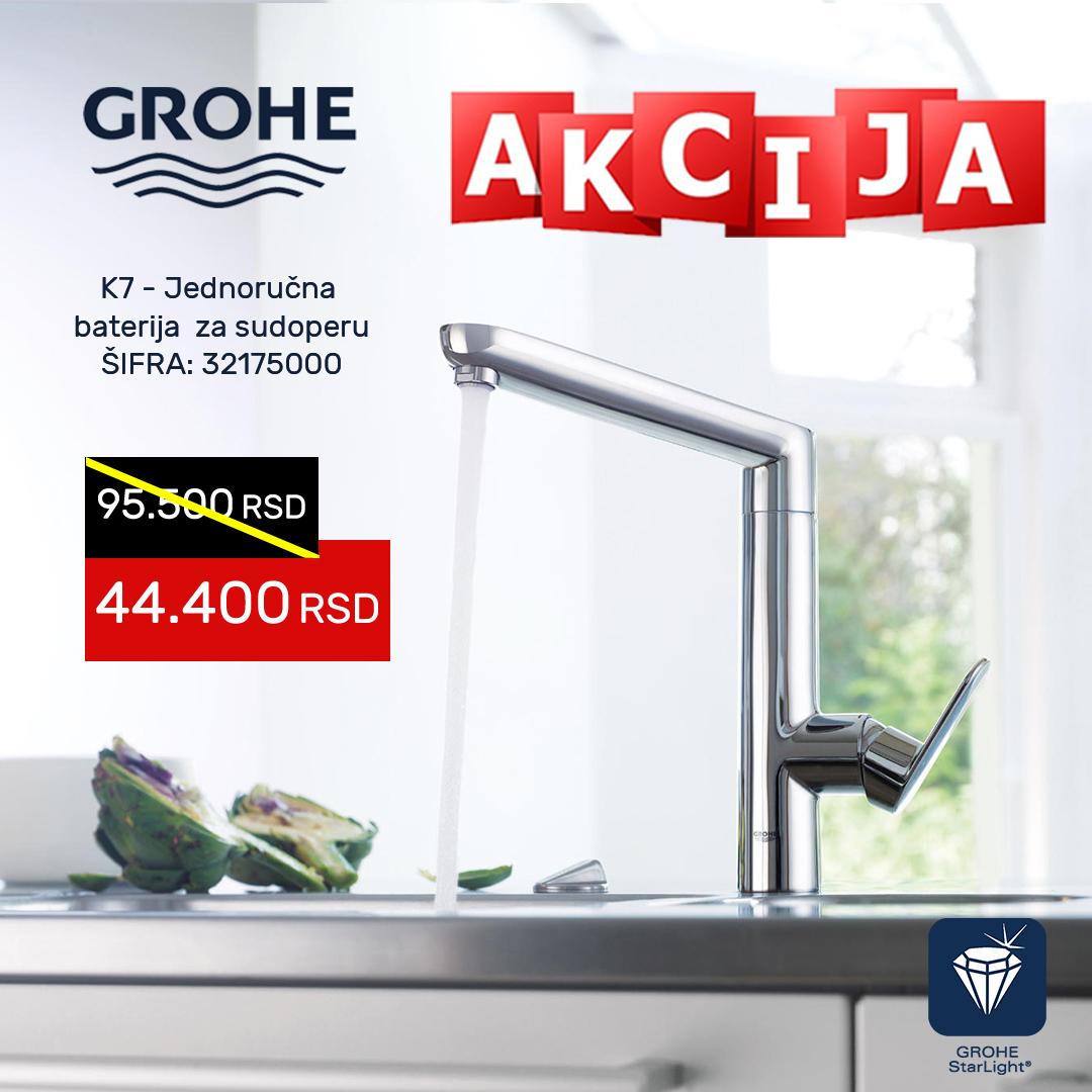 Grohe K1 AKCIJA jednoručna baterija za sudoperu sa tušem na izvlačenje 32175000