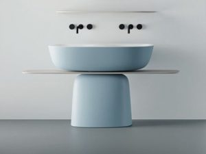 Milo samostojeći dupli umivaonik sa belom policom 120x60 Blue/White 592380 Kolpa san.