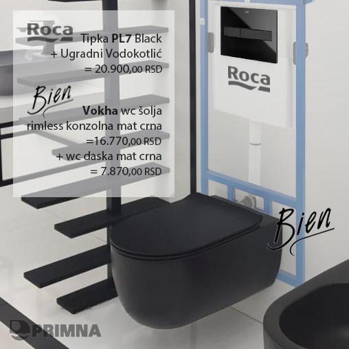 PRIMNA akcija Bien Vokha konzolna wc šolja sa Roca tipkom i ugradnim vodokotlićem-1