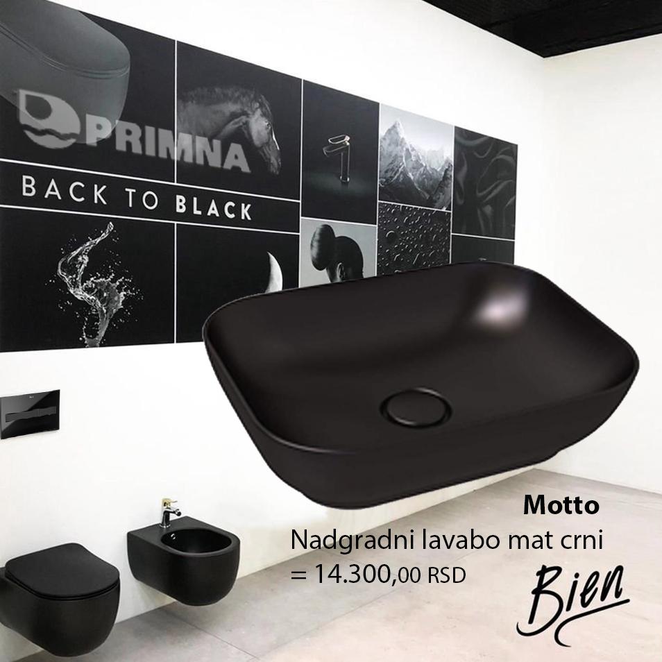 PRIMNA akcija NOVO - Bien Motto nadgradni lavabo mat crni
