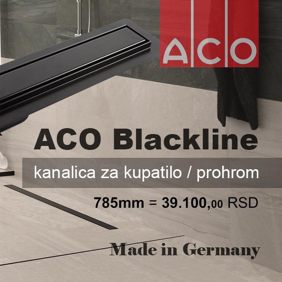 Tuš kanalica mat crna Blackline ACO - PRIMNA AKCIJA